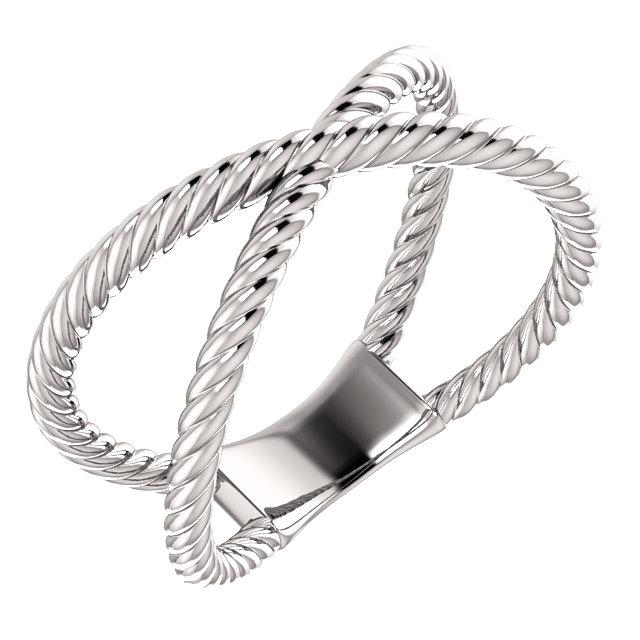 14K White Criss-Cross Rope Ring