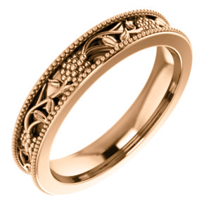 14K Rose Floral-Inspired Band Size 4.5