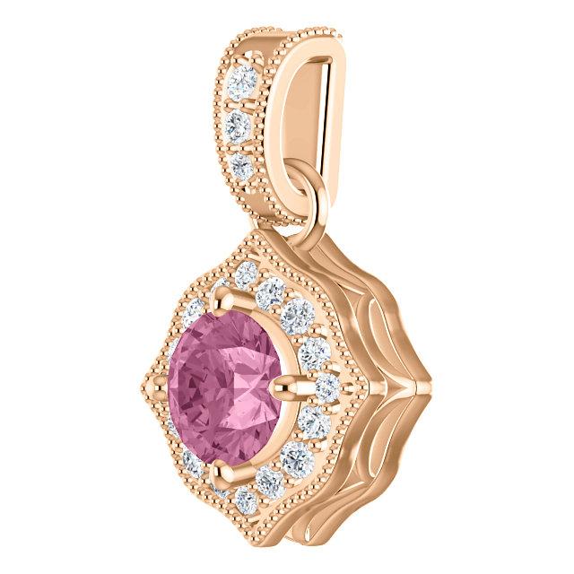 14K Rose Baby Pink Topaz & 1/6 CTW Diamond Pendant
