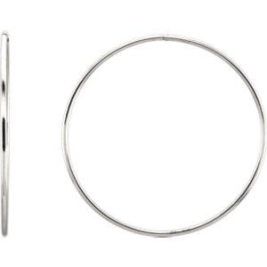 Sterling Silver 60mm Endless Hoop Tube Earrings
