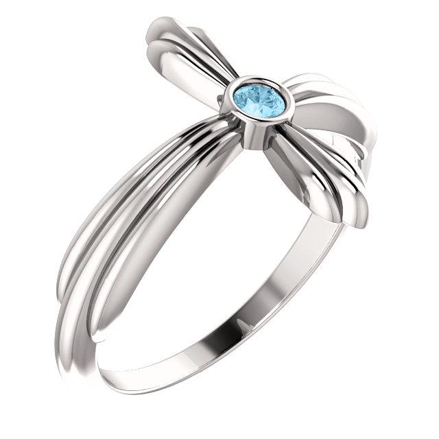 14K White Aquamarine Sideways Cross Ring