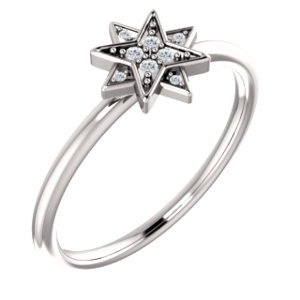 14k White 04 Ctw Diamond Star Ring