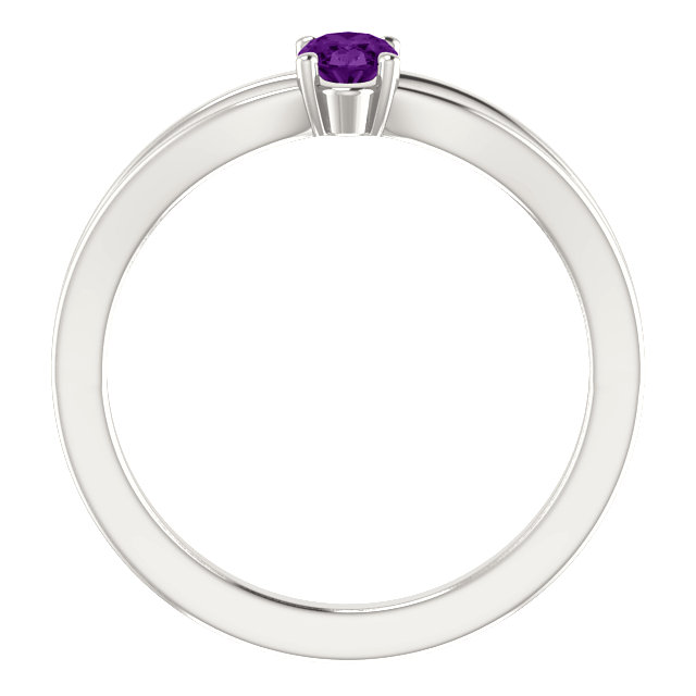 Sterling Silver Imitation Amethyst Solitaire Youth Ring