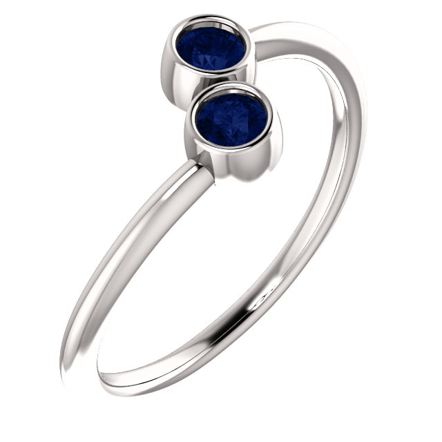 14K White Chatham® Created Blue Sapphire Two-Stone Ring