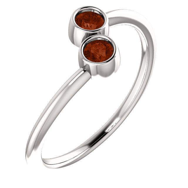 14K White Mozambique Garnet Two-Stone Ring