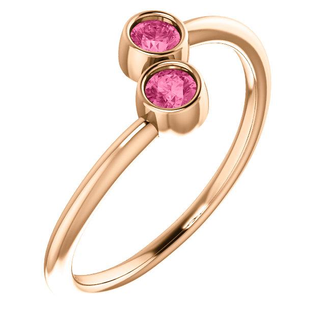14K Rose Pink Tourmaline Two-Stone Ring