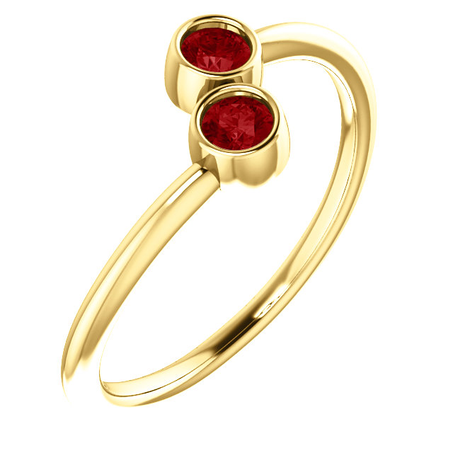 14K Yellow Chatham® Created Ruby Two-Stone Ring