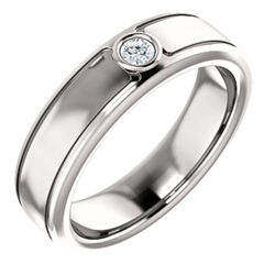 Men's Solitaire Bezel Set Ring