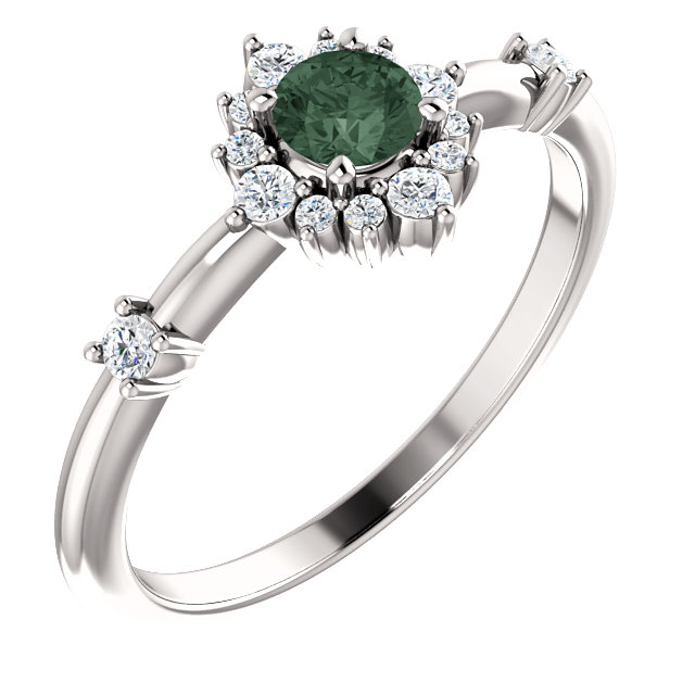 14K White Chatham® Created Alexandrite & 1/6 CTW Diamond Ring