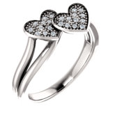 Double Heart Pavé Ring