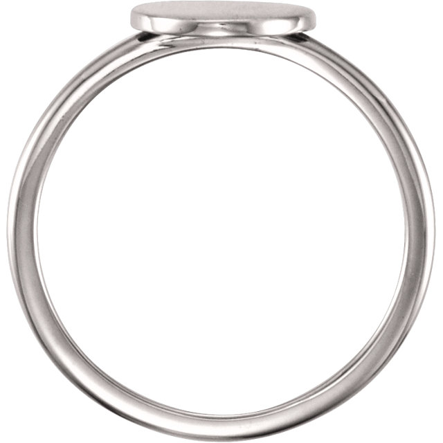 14K White Round Engravable Ring