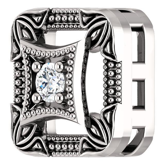 14K White .04 CT Diamond Vintage-Inspired Pendant