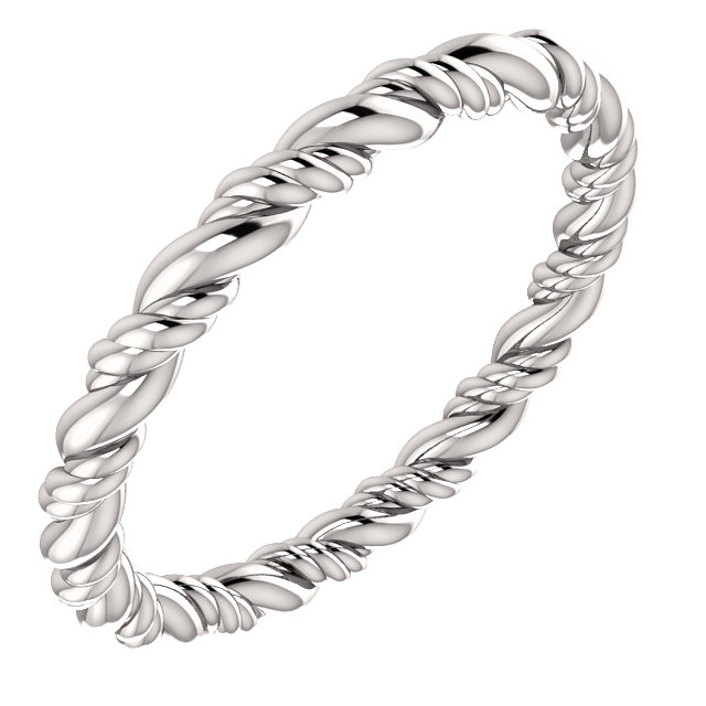 14K White Rope Eternity Band Size 4.5