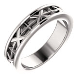 Cross & X-Patterned Wedding Band