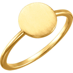14K Yellow Round Engravable Ring