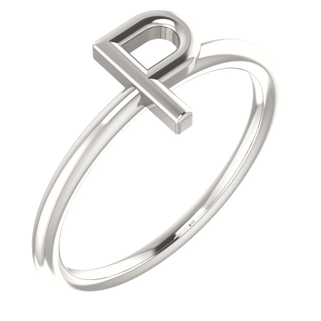Sterling Silver Initial P Ring