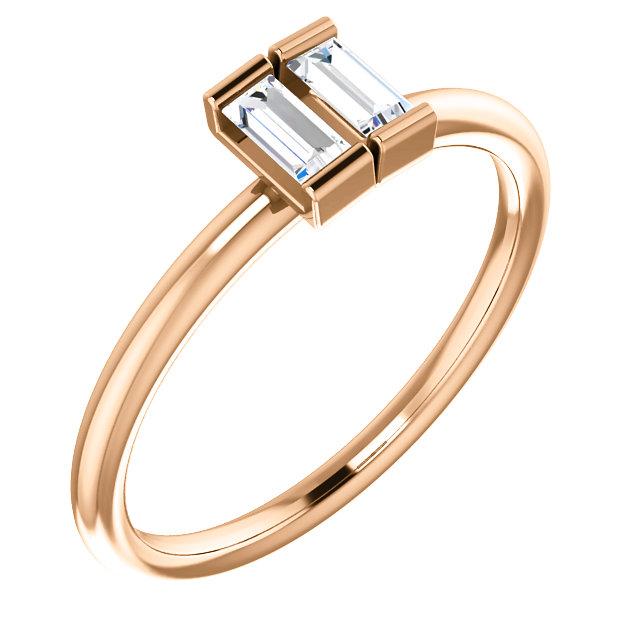 14K Rose 1/4 CTW Diamond Two-Stone Ring