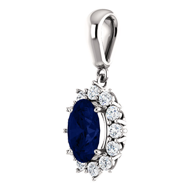 14K White Chatham® Created Blue Sapphire & 1/3 CTW Diamond 18