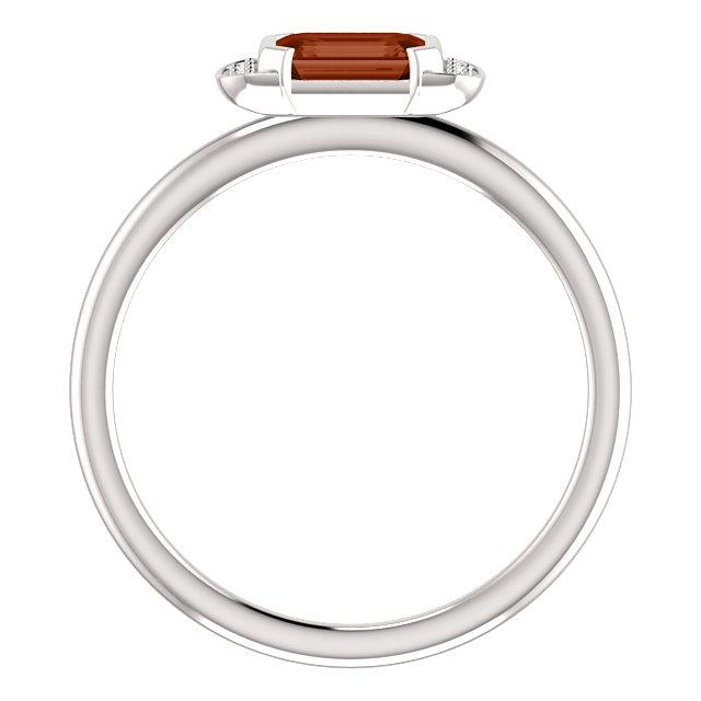 14K White Mozambique Garnet & .02 CTW Diamond Stackable Ring