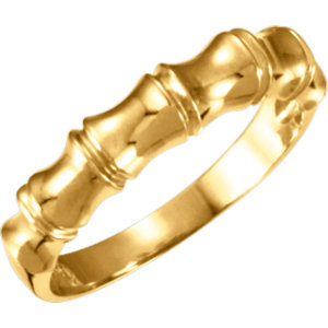 14K Yellow 5mm Ladies Bamboo Design Tapered Band