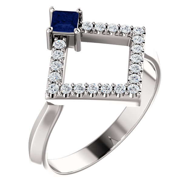 14K White Blue Sapphire & 1/5 CTW Diamond Geometric Ring