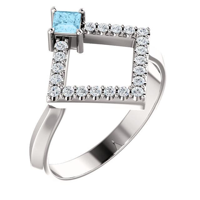 14K White Aquamarine & 1/5 CTW Diamond Geometric Ring