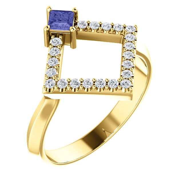 14K Yellow Tanzanite & 1/5 CTW Diamond Geometric Ring