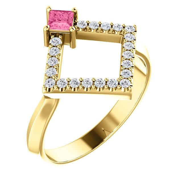 14K Yellow Pink Tourmaline & 1/5 CTW Diamond Geometric Ring