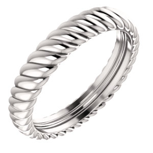 14K White 3.75mm Thick Rope Band Size 5.5