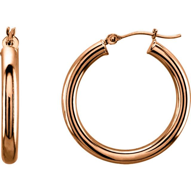 14K Rose 25 mm Tube Hoop Earrings