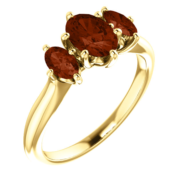 14K Yellow 7x5 mm Oval Garnet Ring