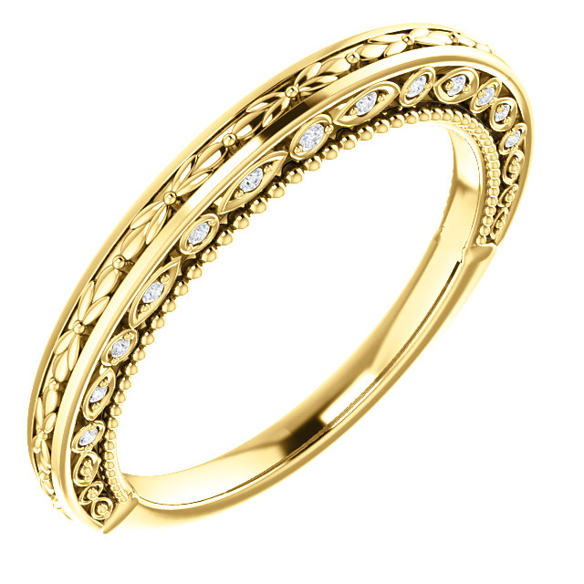 14K Yellow .08 CTW Diamond Vintage-Inspired Band