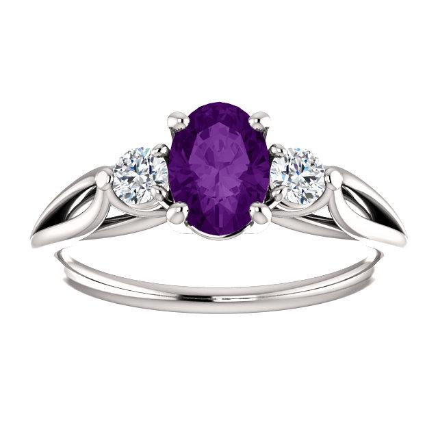 14K White Amethyst & 1/5 CTW Diamond Ring