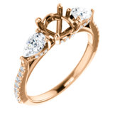 French-Set Three-Stone Engagement Ring or Band