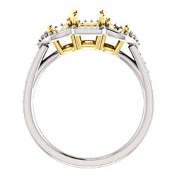 Three-Stone Halo-Style Engagement Ring