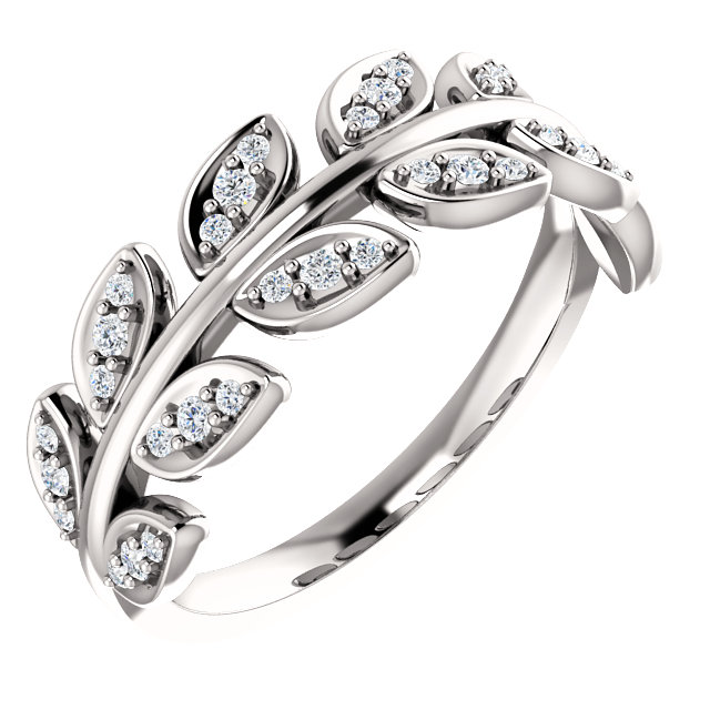 14K White 1/4 CTW Diamond Leaf Ring