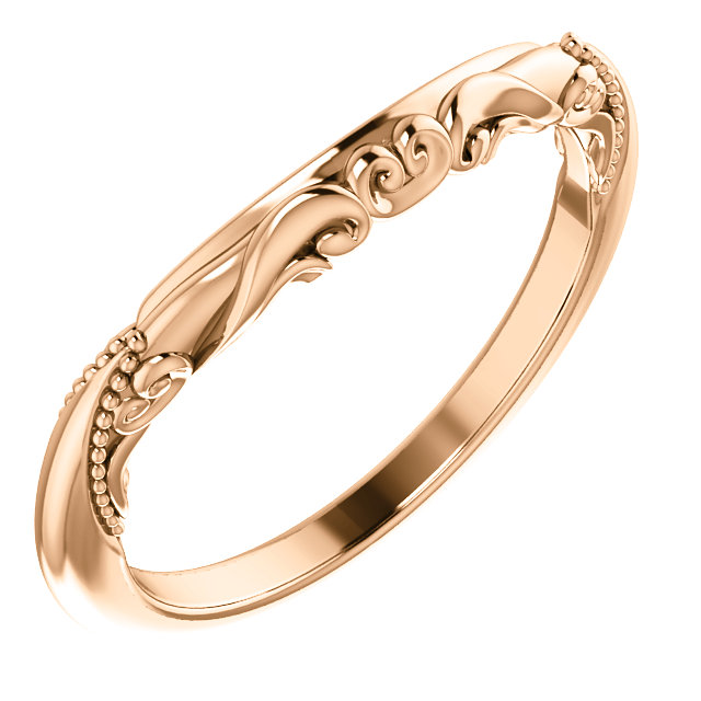 14K Rose Sculptural-Inspired  Matching Band