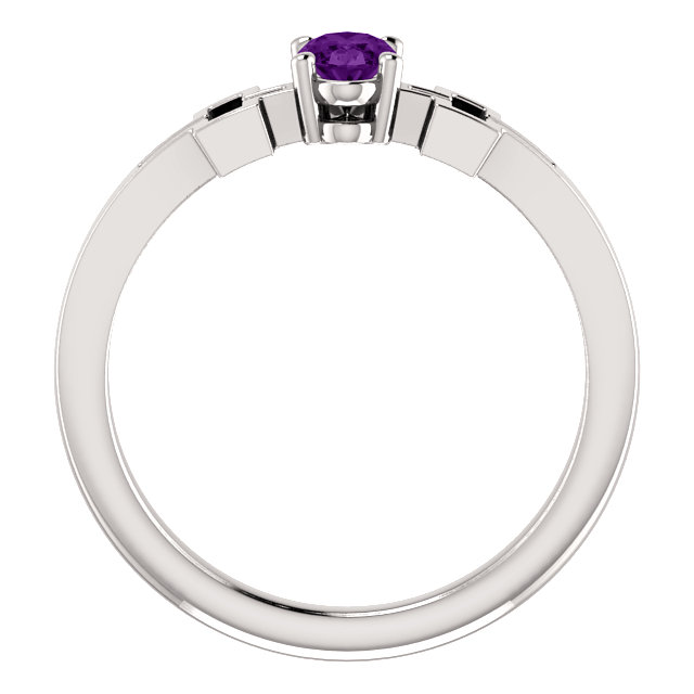 14K White Amethyst Solitaire Cross Youth Ring
