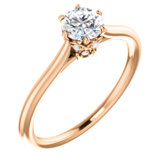 6-Prong Solitaire Engagement Ring with Accent or Band