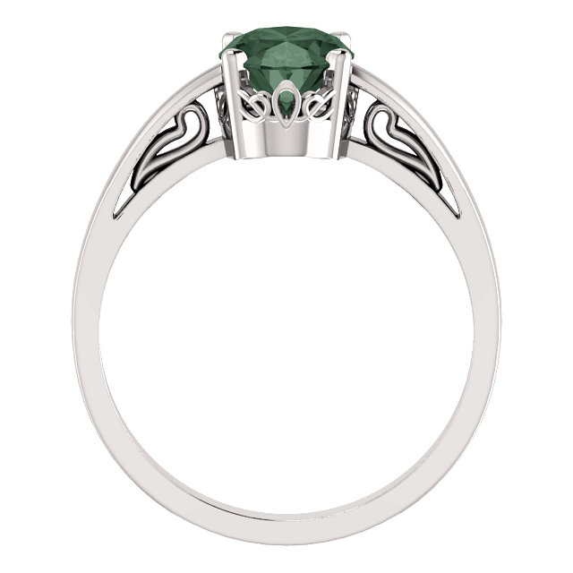 14K White Chatham® Lab-Created Alexandrite Ring