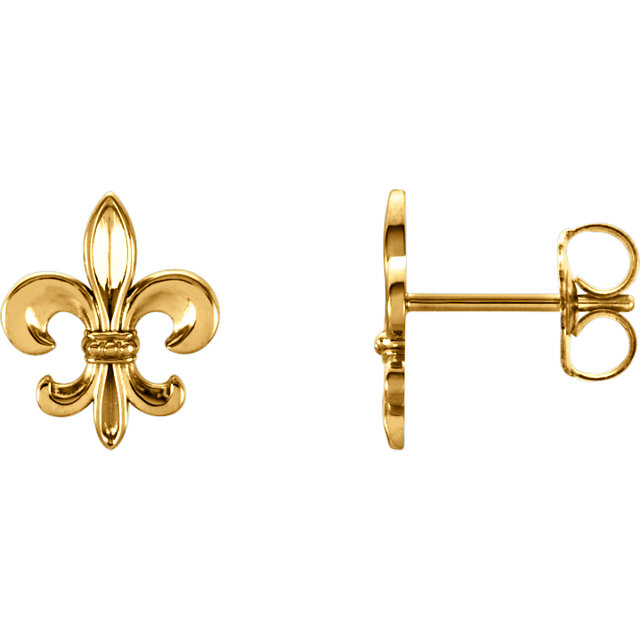 14K Yellow Fleur-De-Lis Earrings