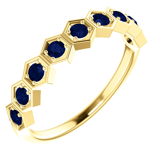 14K Yellow Chatham® Created Blue Sapphire Stackable Ring
