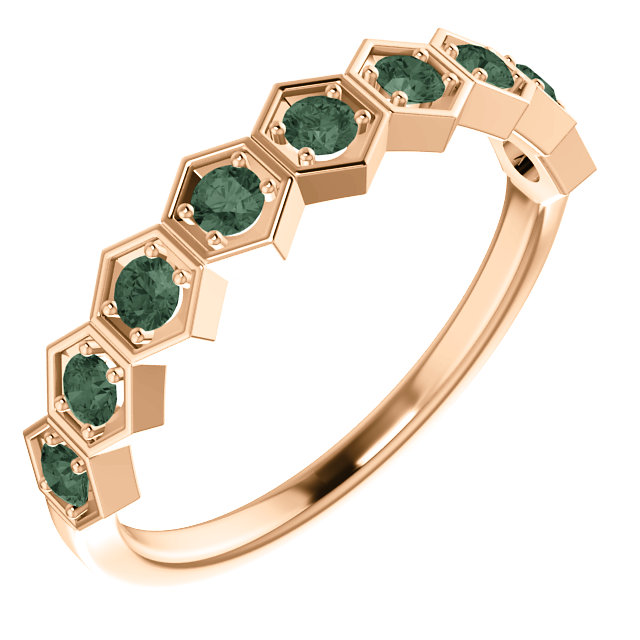14K Rose Chatham® Created Alexandrite Stackable Ring