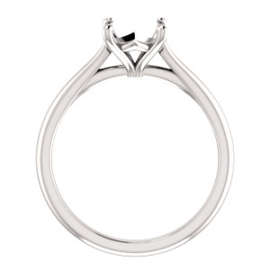 14K White 7.4 mm Round Solitaire Engagement Ring Mounting