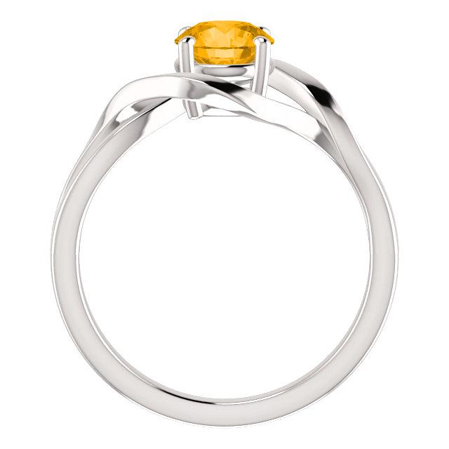 14K White Citrine Ring
