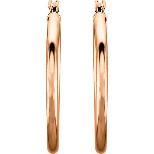 14K Rose 25 mm Hoop Earrings