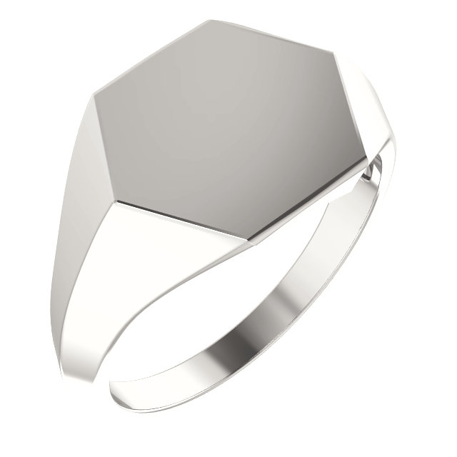 Sterling Silver 16x14 mm Geometric Signet Ring
