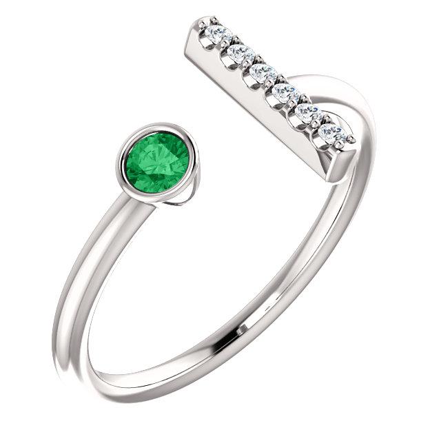 14K White Chatham® Created Emerald & .05 CTW Diamond Bar Ring