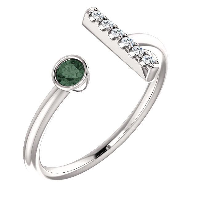 14K White Chatham® Created Alexandrite & .05 CTW Diamond Bar Ring