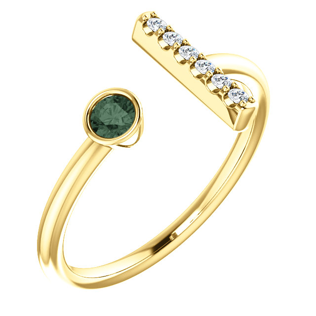 14K Yellow Chatham® Created Alexandrite & .05 CTW Diamond Bar Ring